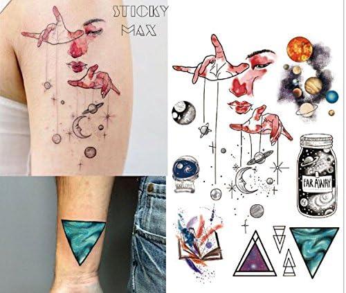 Agua Colores geométrico Tatuajes espacial planetas Tatuajes Falsos ...