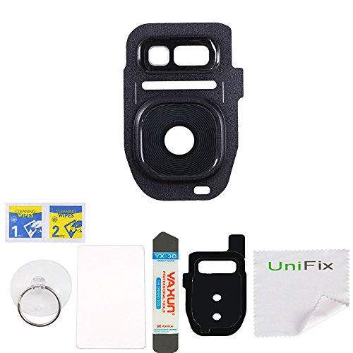 Black Rear Camera Glass Lens Cover Replacement Parts for Samsung Galaxy S7 SM-G930 S7 Edge G935 with Lens Cover Adhesive + Tool Kit Unifix