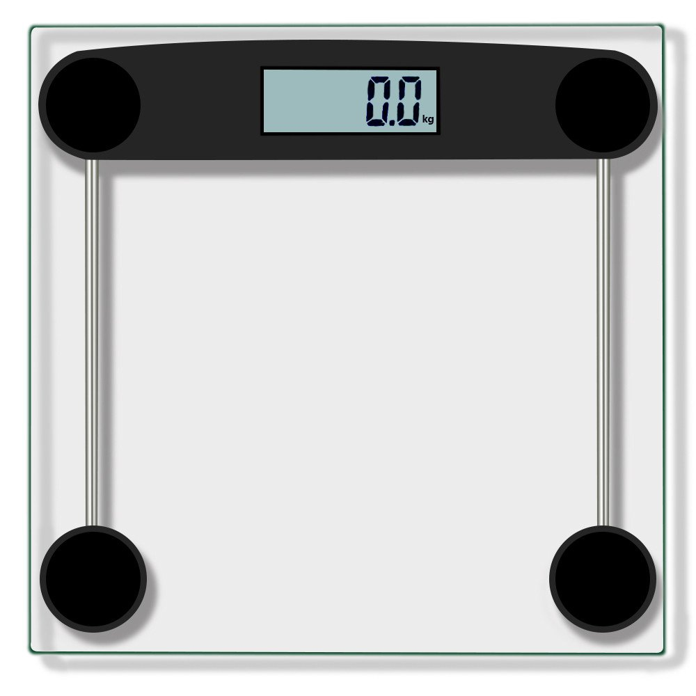 Transer- [US Stock] Digital Body Weight Bathroom Scale With Large LCD Screen, Body Tape Tempered Glass, Step-On Technology, 330 Pounds (Black)
