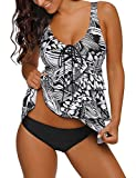 GRAPENT Women Ruffle Layered Printed Two Piece Swimsuit Flounced Tankini Set with Brief Size L