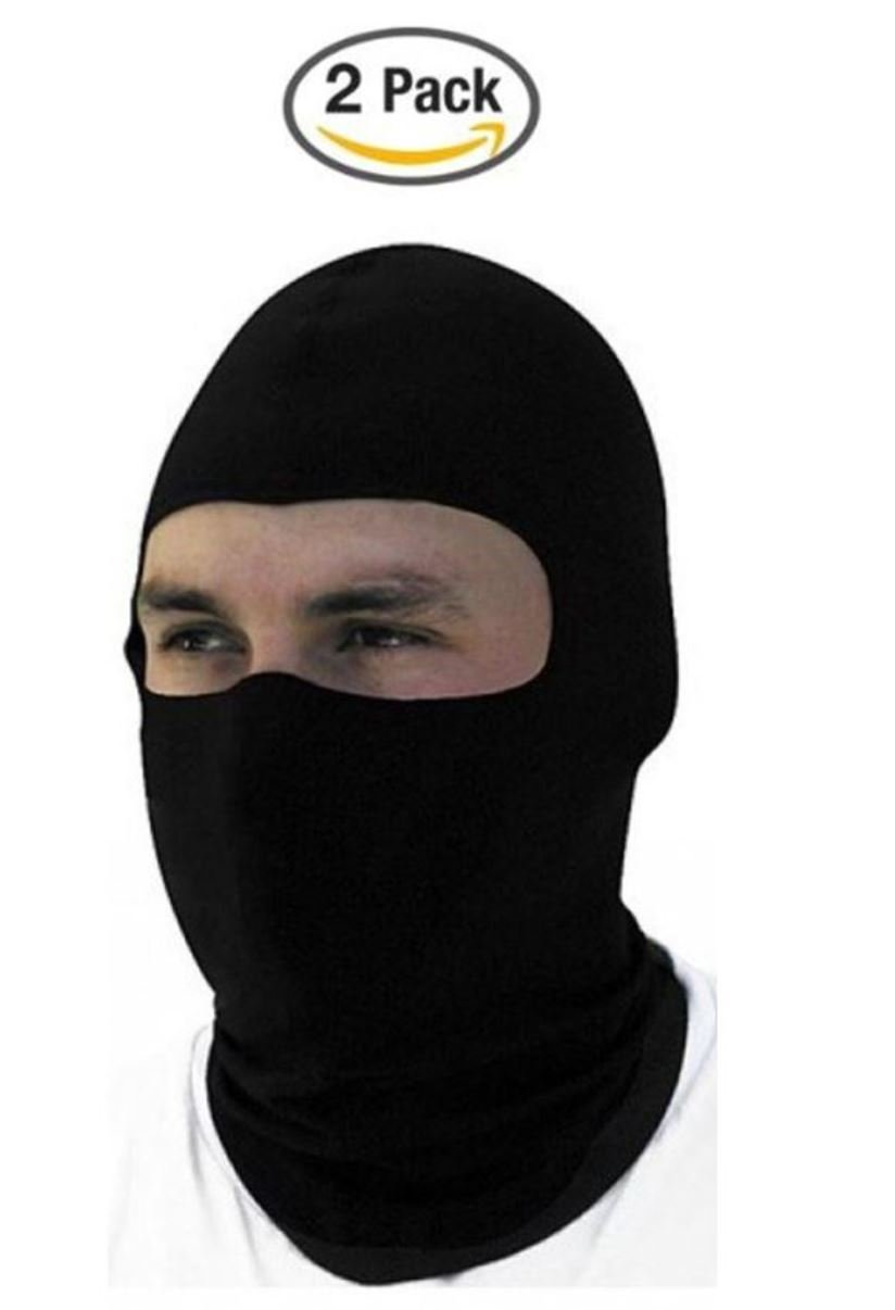 2 Pack -Thin Cotton Spandex Motorcycle Balaclava Face Mask, Premium Quality, Helmet Liner, Ski Mask, Dust Mask, Black Tactical Balaclava by The Bikers Zone