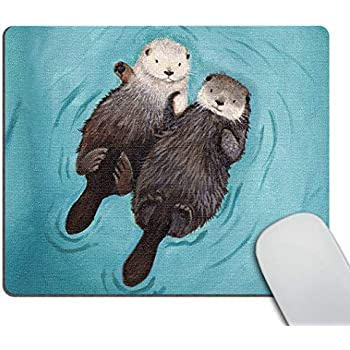 Smooffly Cute Animal Otters Mousepad, Otters Holding Hands Customized Rectangle Non-Slip Rubber Mousepad Gaming Mouse Pad