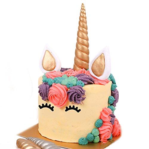 (Handmade Gold Unicorn Topper Set for Baby Shower Children Birthday Cake Decoration, Includes 1 Unicorn Horn, 2 Ears and 2 Eyelashes)