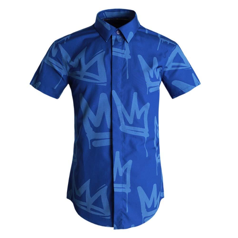 Bleu X-grand BESISOON-MCL Chemises de Plage d'été pour Hommes Chemise à Manches Courtes pour Hommes col Chemisier boutonné Chemise de Ville Coupe Droite en Coton imprimé DéguiseHommests pour Les Vacances