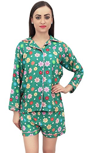 Bimba Camicia Shorts Print Nightwear Set 2 E Button Down Green Verde Pezzi Floral rpXxqr
