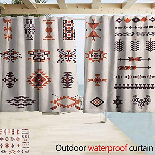 Wakefield Curtain - Wlkecgi Native American Outdoor Blackout Curtain Illustration of Aztec Culture Pattern Tribal Design Geometric Print Simple Stylish W72 xL72 Orange and Brown