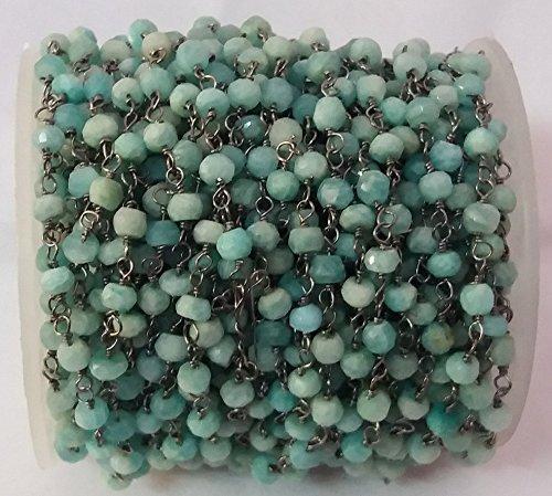 KIRANBEADS - 5 Feet Natural Amazonite Rosary Beaded Chain -