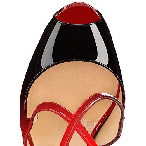 uBeauty Damen Pumps Stilettos High Heels Peep Toe Glitzer Übergröße Sandalen mit Plateau Corss Ankle Strap Schuhe Rot Und Schwarz