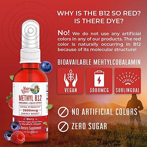 (Extra Strength-60 Day) Organic Vitamin B12 (Methyl) Liquid Sublingual Spray by MaryRuth Energy Boost - Sugar Free - Non-GMO Vegan - Gluten Free - Paleo - Bariatric & Celiac Glass Bottle 1oz-3000 mcg