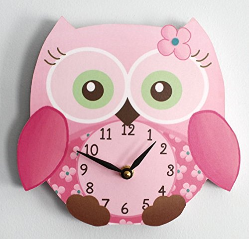 Sweet Little Owl Wooden WALL CLOCK for Girls Bedroom Baby Nursery WC0010 Toad and Lily