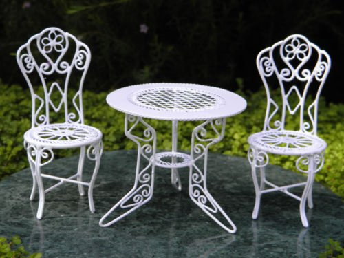Furniture White Wire Table & Chairs - Miniature Dollhouse Figurine.