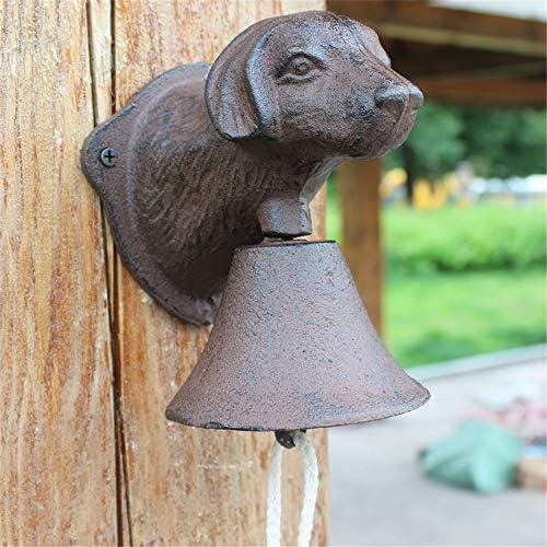 アイアンベル ヴィンテージ鋳鉄犬頭ドアベルウォールミューラルガーデンコートヤードの装飾ガーデンドアベル 鋳鉄製 (Color : Multi-colored, Size : Free size)