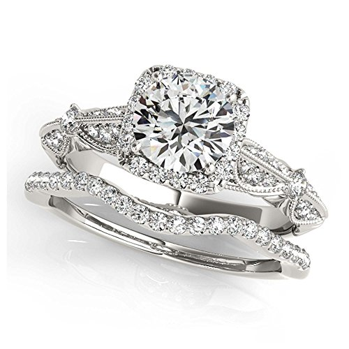 14K White Gold Unique Wedding Diamond Bridal Set Style MT50874