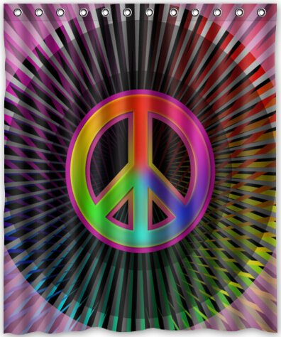 Image Unavailable Not Available For Color HOT Design Peace Sign Shower Curtain