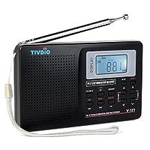 TIVDIO V-111 Portable AM FM Shortwave Radio Alarm Clock Battery Operated AA Battery 12 H Time Display with Back-light Earphone Jack Sleep Timer(Black)