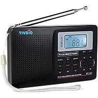 TIVDIO V-111 Portable Shortwave Travel Radio AM/FM Stereo with Clock and Alarm (Black)