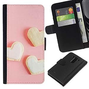 All Phone Most Case / Oferta Especial Cáscara Funda de cuero Monedero Cubierta de proteccion Caso / Wallet Case for LG G3 // Three white heart