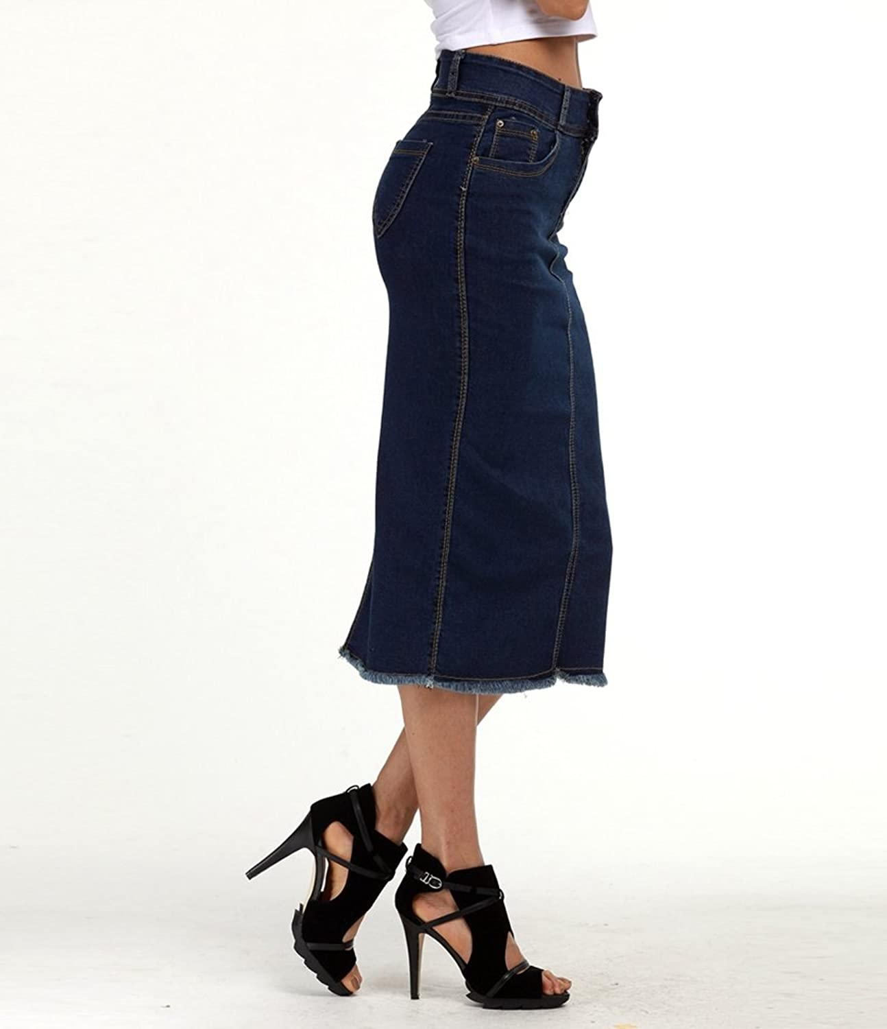 WanYang Womens Plus Size S,M,L,XL,2XL,3XL,4XL Denim High Waisted Jean Skirt  Long Denim Skirts for Ladies Denim Pencil Skirt Long Jean Skirts:  Amazon.co.uk: ...