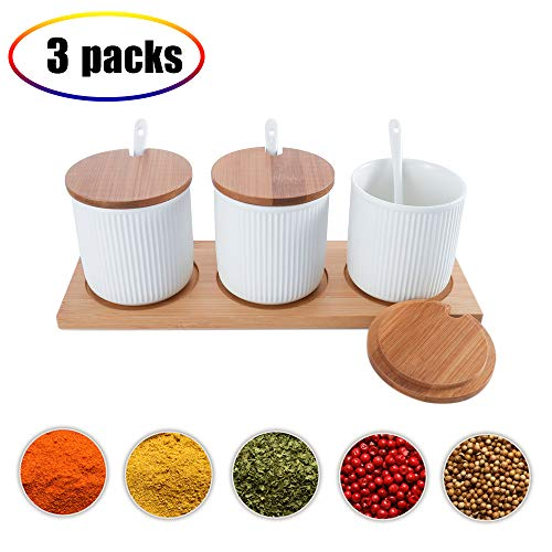 Ceramic Food Storage Spice Containers with Bamboo Lid- Porcelain Jar- Perfect Canister for Sugar Bowl, Serving Tea, Coffee, Spice ,Nuts jar, Holding Dressings, Dipping, Salad Bar Serving- Condiment