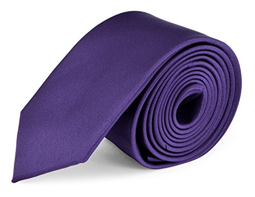 Moda Di Raza- Mens Skinny Slim Neck Tie - Silk Finish Polyester Men Necktie - Solid Color Long Ties for Men - Fashion Tie - Dark (Purple Skinny Tie)