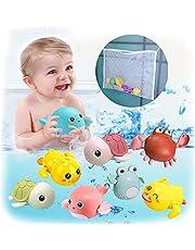 Bath Toys, 8 Pack Bathtub Toys for 1-5 Year Old Boy Girl Gifts Wind-up Swimming Baby Bath Toys Funny Toddler Bath Toys Set with Bath Toy Storage Organizer