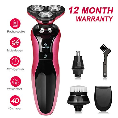 DAMONING Electric Shaver, 4D Rechargeable IPX7 Waterproof 4 in 1 Men s Rotary Shavers Wet and Dry Electric Shaving Razors with Pop-up Trimmer pink