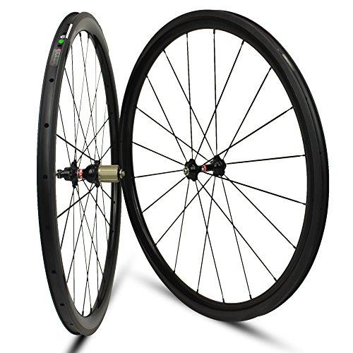 Yuanan 38mm Depth Carbon Wheel Clincher Tubular Tubeless Wheelset For 700C road Bike Cycling