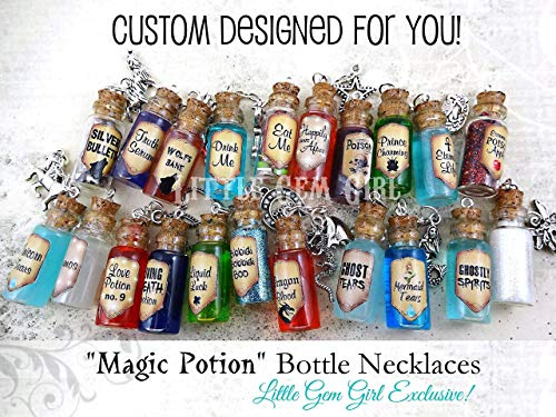 One Custom Designed Bottle Necklace with Real Moving Liquid or Glitter Inside - Magic Potion Charm - Mini Cork Vial - Fairy Tale Fantasy Halloween Jewelry