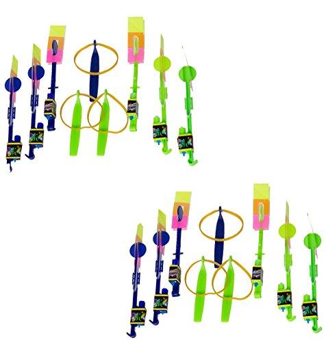 Slingshot Rocketeer (18 Piece LED Flying Slingshot Toys Set for Kids Rocketeer Flyers & Launchers Games