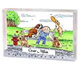 Personalized Friendly Folks Cartoon Snow Globe Frame Gift: Dog Lover - Male Great for animal rescue, pet sitter, dog walker