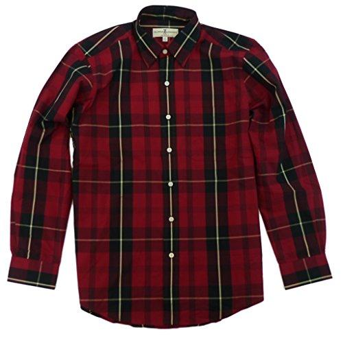 Fairway Plaid (Fairway & Greene Mens Huron Poplin Plaid Button Down Shirt Medium Red Tartan)