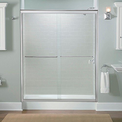 (Kohler K-702206-L-SHP Fluence 56-5/8-to-59-5/8-Inch by 70-5/16-Inch Frameless Sliding Door with Crystal Clear Glass, Bright Polished Silver )
