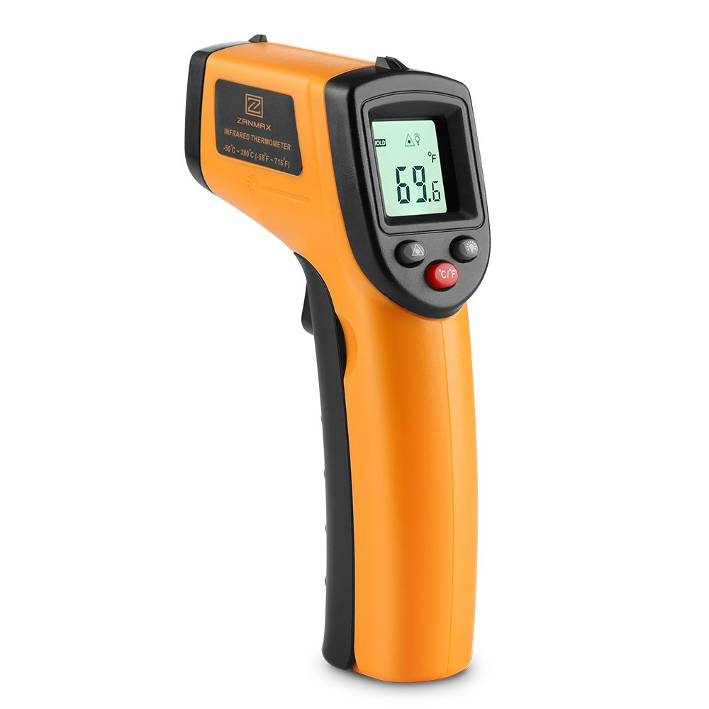 Infrared Thermometer, Non-Contact Digital Thermometer Temperature Gun w Laser Hand Tool For Indoor/Outdoor, -58℉~716℉ Lasergrip Reading, AC Units Heater Check, AAA Battery Not Include, 1 by Z ZANMAX
