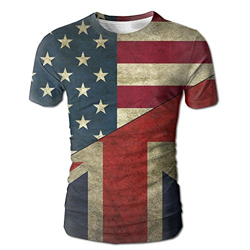 Flags USA UK Flag Men's O-Neck Shirt Sleeve Baseball Jersey Top (Chappy Stripe)