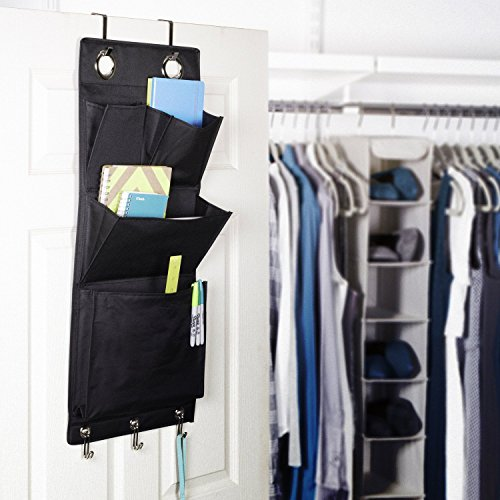 Over the Door Magazine Storage Pockets Hooks Books Organizational Back to School Office Home, 14'W x32