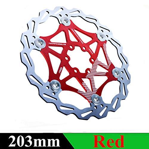 Kyuccfrs MTB, Road Bike, Metal Float Floating Disc Brake Rotors Bicycle Parts - Red 203mm