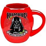 "Vandor 99262 Star Wars Darth Vader ""Humbug"" 18 oz Oval Ceramic Mug, Red, Black, and White"