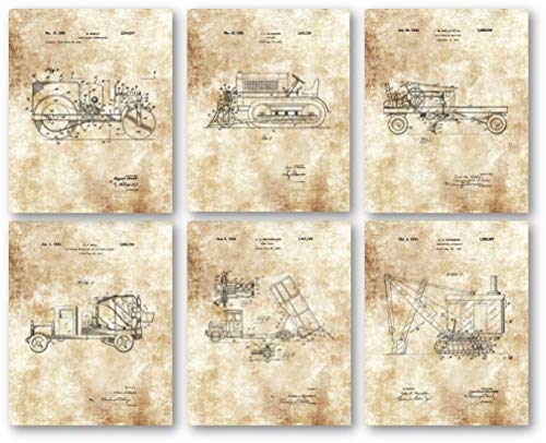 Original Construction Trucks Artwork – Set of 6 8 x 10 Unframed Patent Prints – Great Gift for Construction Workers, Contractors – Vintage Decorative Touch for Worksite Trailers and Offices