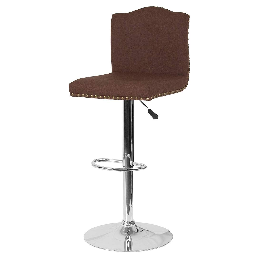 Modern Design Bar Stool Durable Upholstery Padded Cushion Seats Arched Back Design Solid Chrome Bases Finish Dining Chair Bar Pub Restaurant Home Office Furniture - (1) Brown Fabric #2236