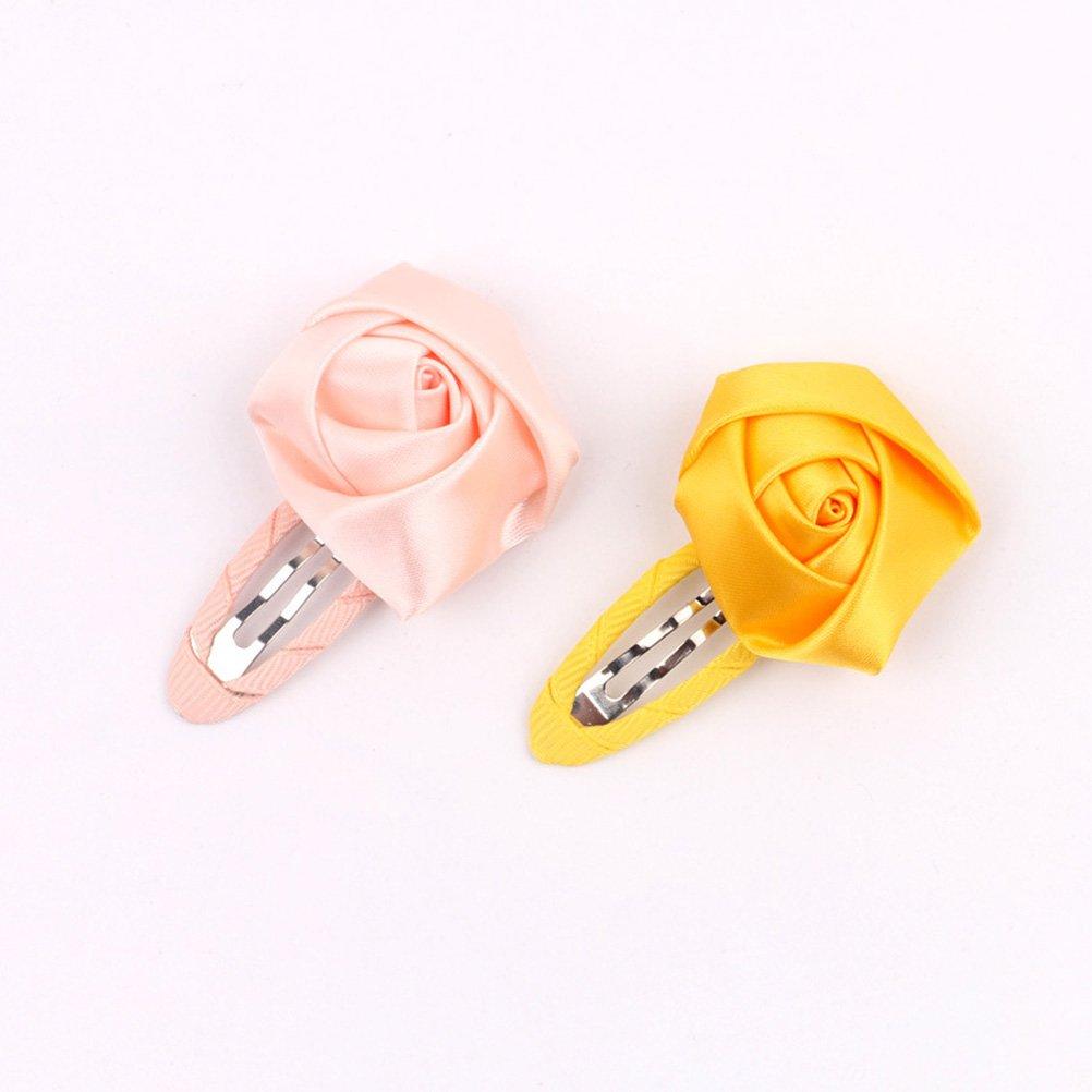 Frcolor 12/pcs B/éb/é Fille Rose Snap Pince /à cheveux Fleur color/é Dragonne Barretes Accessoires de beaut/é