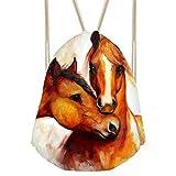 doginthehole Animal Horse Printed Durable Drawstring Bags Teenager Backpacks