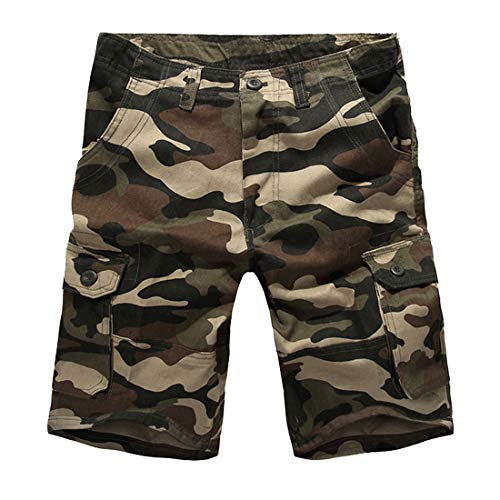 (Mens Multi-Pocket Cotton Shorts Camo Cargo Shorts Loose Fit Camouflage Short Yellow)