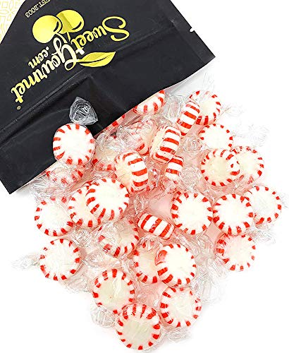 (Arcor Red & White Peppermint Starlights Candy | White Center | Twist Wrap Mints | 2 pounds)