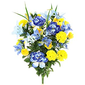 Admired By Nature ABN1B001-BL/YW 40 Stems Artificial Full Blooming Lily, Rose Bud, Carnation and Mum with Greenery Mixed Flower Bush, Blue/Yellow, BL/YW 14
