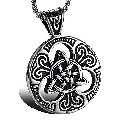 (ATDMEI Irish Celtic Trinity Knot Pendant Necklace for Mens Women Stainless Steel Vintge Gothic Jewelry Gifts)