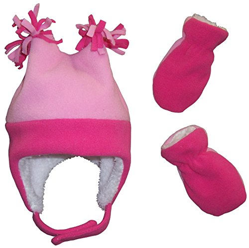 N'Ice Caps Little Girls and Baby 4 Corner Sherpa Lined Fleece Snow Hat Mitten Set (6-18 Months, Fuchsia/Pink Infant)