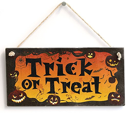 Trick Or Treat' - Halloween Sign - Handmade Shabby Chic Wooden Sign / Plaque Wooden Hanging Sign 8