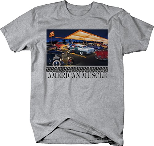 American Muscle - Classic Hotrod Car Truck Drive-in Cruise Tshirt - Large Heather Grey