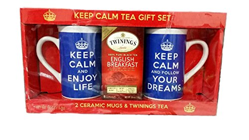 Twinings English Breakfast Tea Gift Set; Keep Calm Mug Set in Royal Blue with Motivational Messages- 1 Mug each: Keep Calm and Enjoy Life, Keep Calm and Follow Your Dreams
