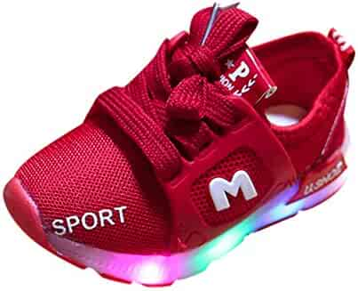b5fa27c3f55d WARMSHOP Kids Light Up Sneakers 1-6T Boys Girls Colorful Soft Sole  Breathable Air Mesh